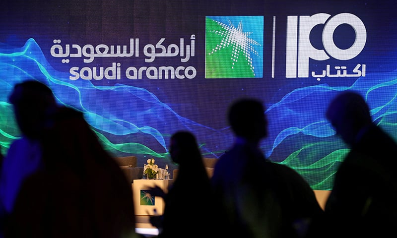 A sign of Saudi Aramco's initial public offering (IPO) is seen during a news conference by the state oil company at the Plaza Conference Center in Dhahran, Saudi Arabia on November 3, 2019. — Reuters