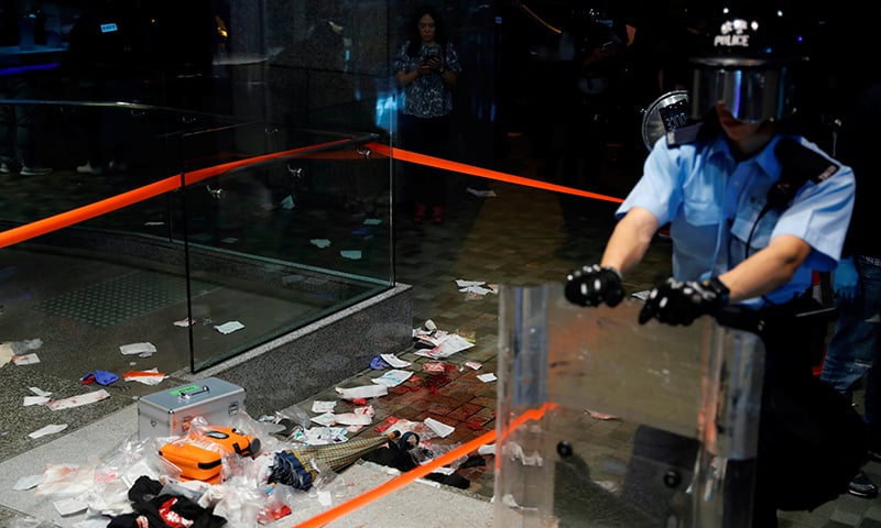 A view of the scene where Andrew Chiu Ka Yin, District Councillor of Taikoo Shing West, was injured in a knife attack during anti-government protest at a shopping mall in Hong Kong, China on November 3, 2019. — Reuters