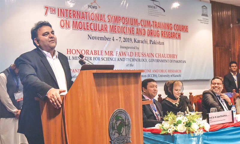 Minister Fawad Chaudhry speaks at the KU event on Monday.—White Star