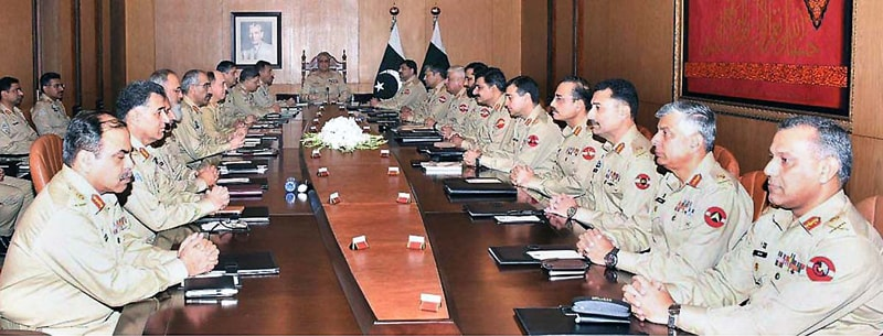 RAWALPINDI: Chief of the Army Staff Gen Qamar Javed Bajwa presides over the corps commanders' conference at the General Headquarters on Monday.—APP