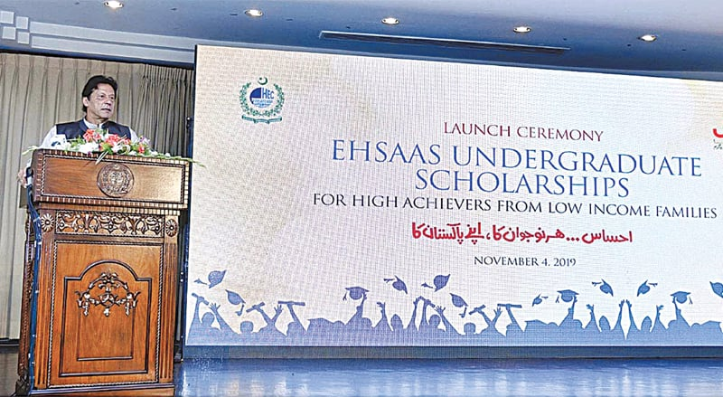 ISLAMABAD: Prime Minister Imran Khan addressing the launch ceremony of the 'Ehsaas Undergraduate Scholarships' programme on Monday.—APP