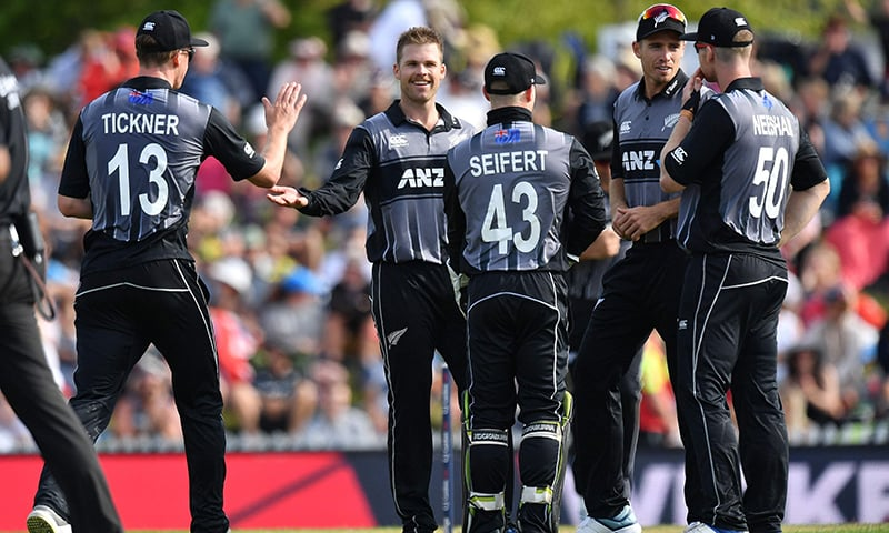 New Zealand's Lockie Ferguson (C) celebrates with teammates after bowling England's Lewis Gregory during the Twenty20 cricket match between New Zealand and England at Saxton Oval in Nelson on November 5, 2019. — AFP