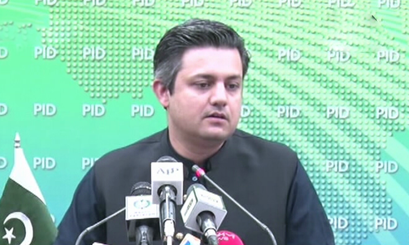 Federal Minister of Economic Affairs Muhammad Hammad Azhar addressing a press conference in Islamabad on Tuesday. — DawnNewsTV