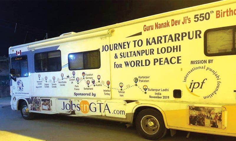 A bus carrying Sikh pilgrims from Canada arrived in Hassanabdal late Monday night. — Dawn