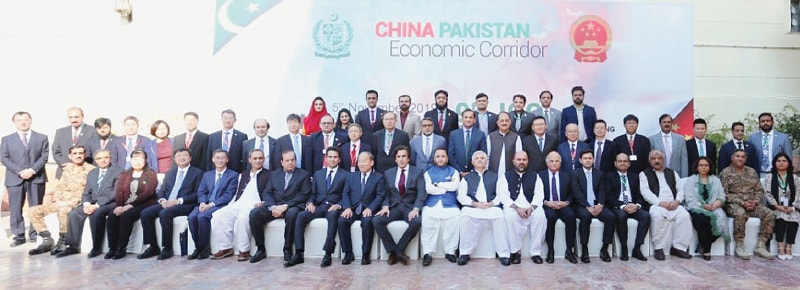 ISLAMABAD: Federal Minister for Planning, Development and Reform Makhdum Khusro Bakhtyar and Vice Chairman NDRC Ning Jizhe are seen in this group photo along with other delegates during the 9th Joint Cooperation Committee Meeting.