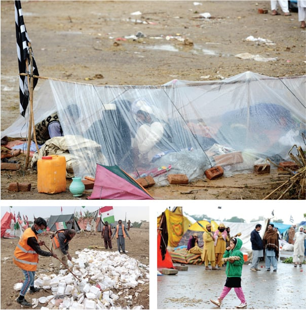 Clockwise from top: The sit-in participants take shelter under a plastic sheet, a girl sells boiled eggs while the MCI workers clear garbage from the protest site on Wednesday. — White Star