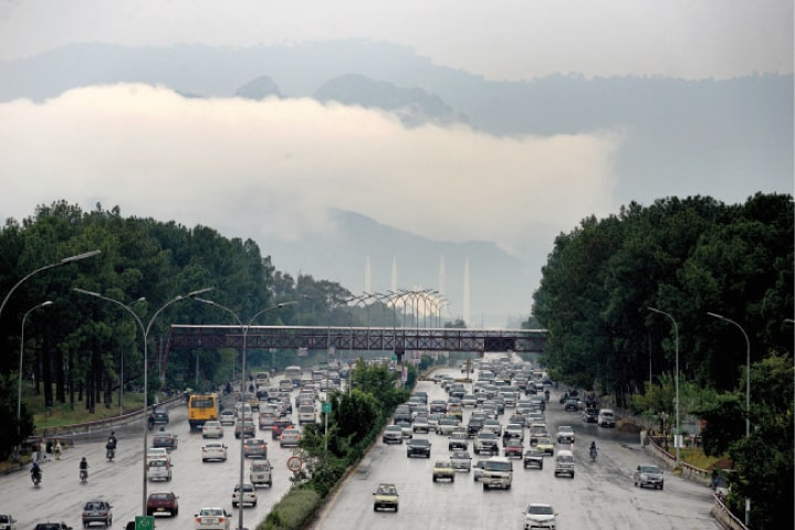 Clouds hang over Islamabad following the first winter rain on Wednesday. — White Star