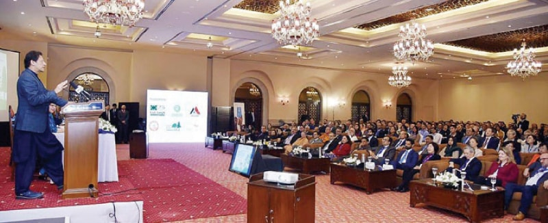 Prime Minister Imran Khan speaks at the inaugural session of the 7th Asian Regional Conservative Forum of IUCN on Wednesday. — APP