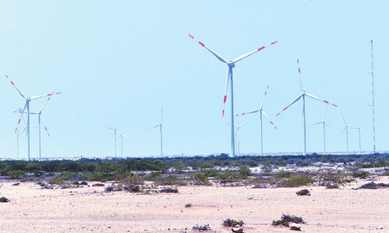 A view of the $136m Jhimpir Wind Power project which has a total capacity of 50MW. The International Renewable Energy Agency estimates that Pakistan has up to 50GW of theoretical wind potential in Sindh and Balochistan.—Dawn file