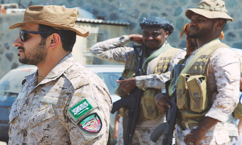 Aden: Saudi army officers stand outside a hospital during the delivery of medical aid on Wednesday.—Reuters