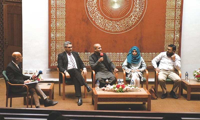 THE panel discussion under way at the AKU on Thursday.—Faysal Mujeeb/White Star