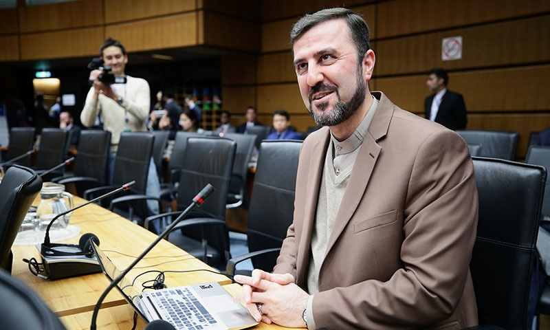 Iran's ambassador to the International Atomic Energy Agency (IAEA) Kazem Gharib Abadi waits for the start of a board of governors meeting at the IAEA headquarters in Vienna, Austria on November 7. — Reuters