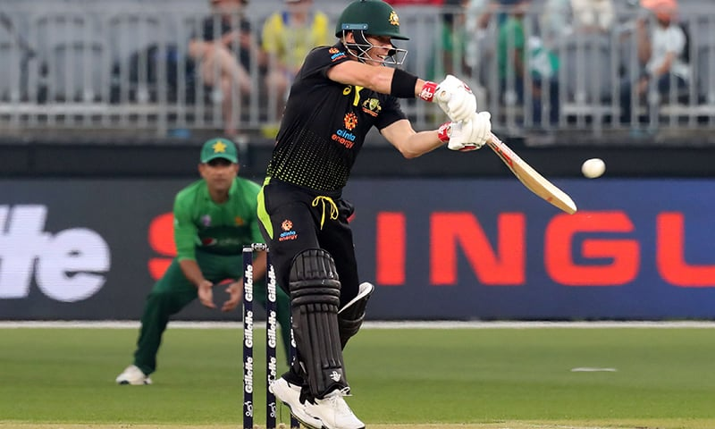 David Warner of Australia plays a shot during the third and final Twenty20 cricket match between Australia and Pakistan at Optus Stadium in Perth on Thursday. — AP