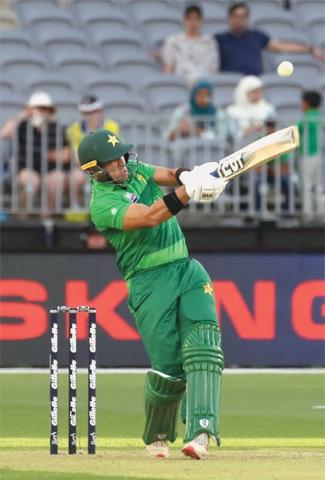 PERTH: Pakistan's top-scorer Iftikhar Ahmed pulls during the third Twenty20 International against Australia at Perth Stadium on Friday.—AFP