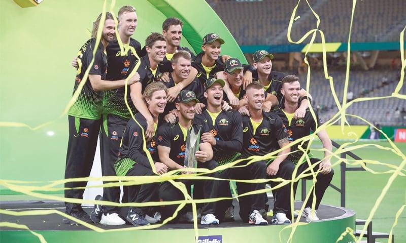 AUSTRALIAN players celebrate winning the series.—AFP