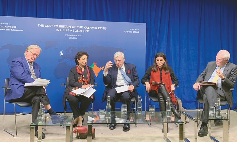 FORMER UK foreign secretary Jack Straw, Pakistan's former permanent representative to the UN Maleeha Lodhi, former British diplomat Mark Lyall Grant and Indian journalist Nidhi Razdan at  the event.—Photo by writer