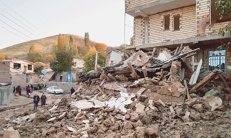 THE debris of buildings in the Iranian village of Varnakesh that were destroyed or damaged in the quake.—AFP
