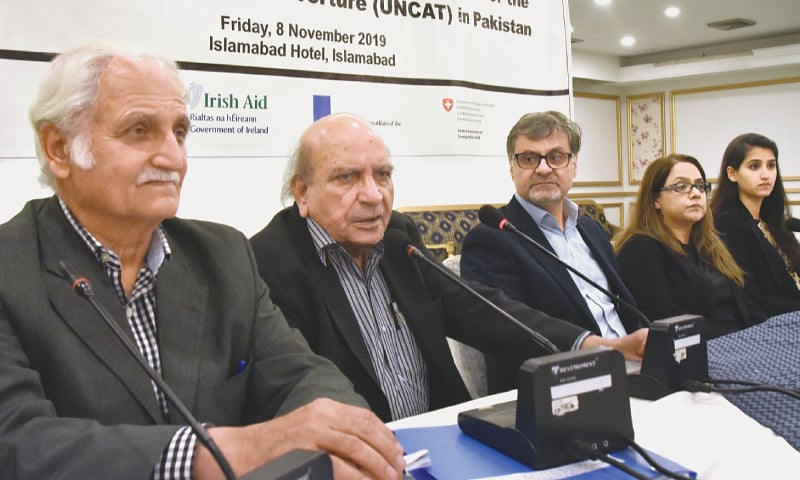 Farhatullah Babar, I.A. Rehman, Kamran Arif, Maliaka Raza and Fatima Bukhari at the HRCP consultation held on Friday.—White Star