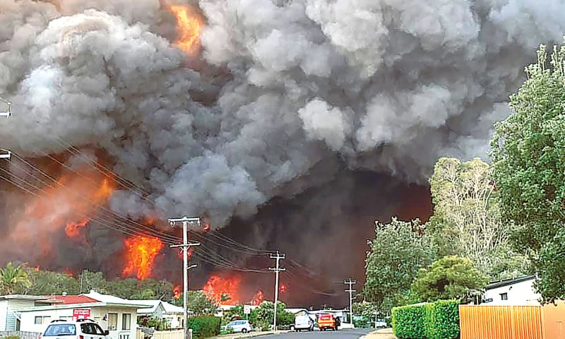 SYDNEY: Flames from a bushfire seen from a nearby residential area in Harrington, over 300 kilometres north-east  of Sydney.—AFP