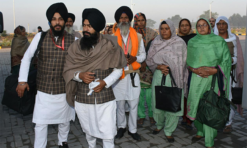 Sikh pilgrims arrive from India to attend the opening of the Kartarpur Corridor. — Photo provided by Naveed Siddiqui