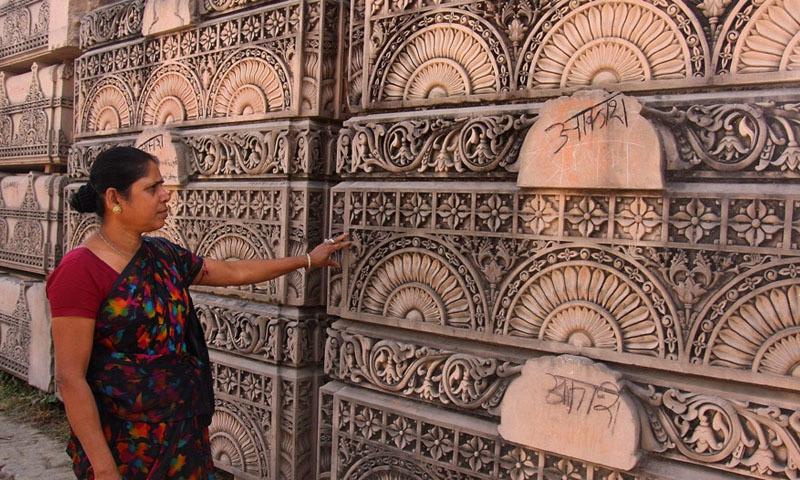 ایودھیا میں رام مندر کی تعمیر کے لیے کئی برسوں سے تیاریاں جاری ہیں—فائل فوٹو: اے ایف پی
