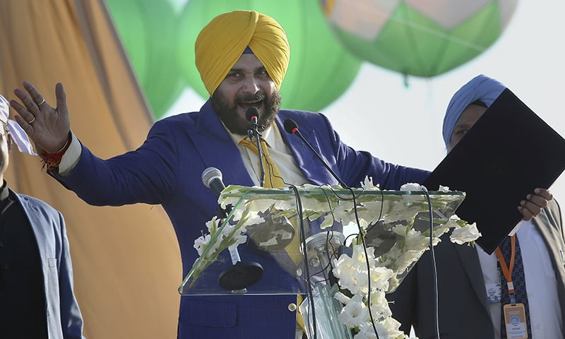 Navjot Singh Sidhu addresses the ceremony. — AP