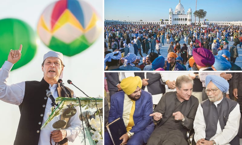 (Clockwise) Prime Minister Imran Khan addressing the inauguration ceremony at the shrine of Baba Guru Nanak Dev at Gurdwara Darbar Sahib in Kartarpur on Saturday. Sikh pilgrims from all over the world gather at the shrine for the historic day. Foreign Minister Shah Mehmood Qureshi talks to former Indian prime minister Manmohan Singh. India's cricketer-turned-politician Navjot Singh Sidhu is also seen.—AFP/ White Star