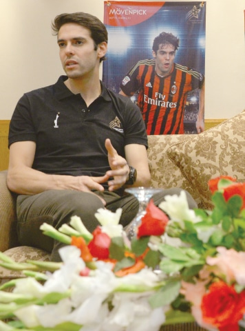 KAKA gestures during his interview with Dawn on Saturday.—Shakil Adil/White Star