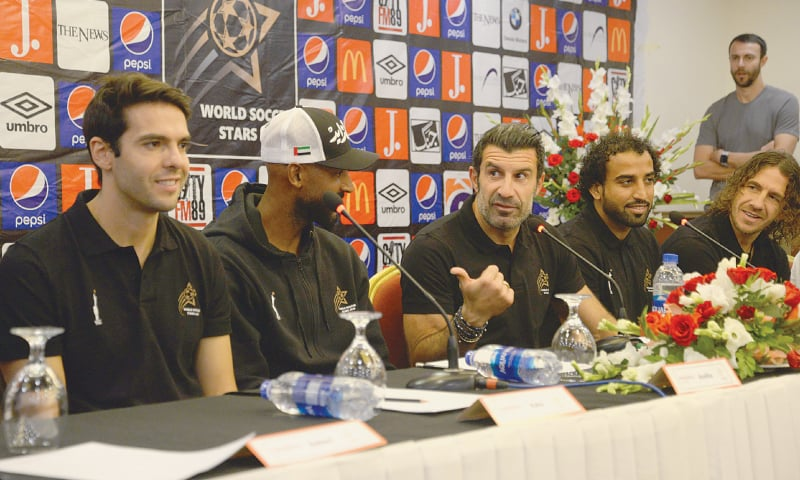 KARACHI: (From L to R) Kaka, Nicolas Anelka, Luis Figo, Saddam Hussain and Carles Puyol attend a news conference on Saturday.—White Star