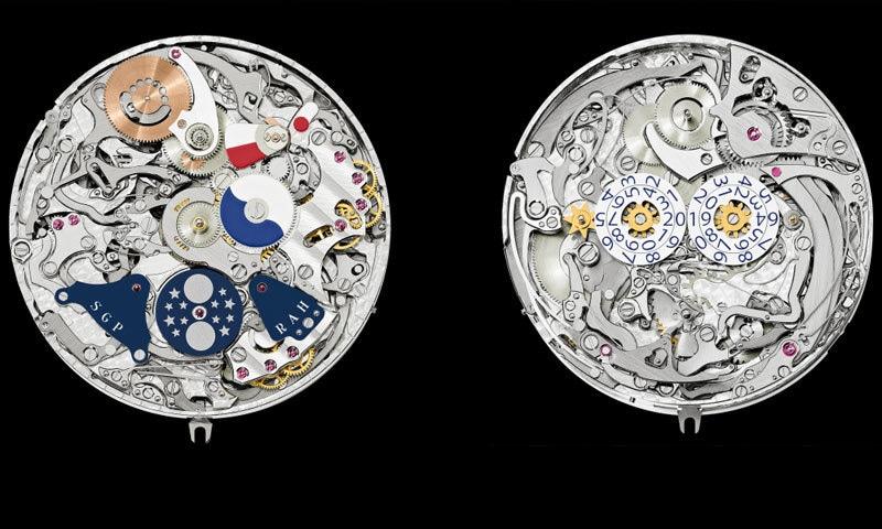 گھڑی کے دونوں ڈائلز کو اندرونی طور پر بھی ایک دوسرے سے منفرد بنایا گیا ہے—فوٹو: پیٹک فلپ