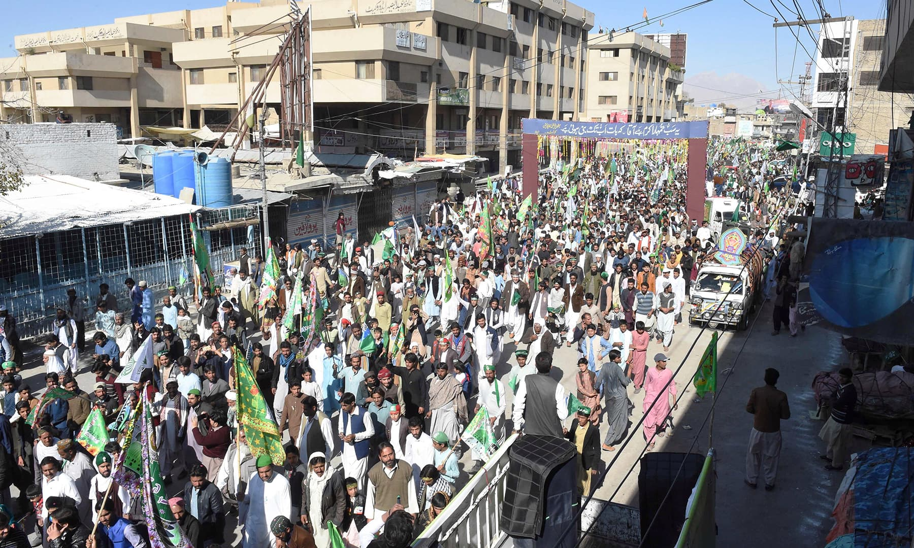 The view of a procession taken out in Quetta to mark Eid-i-Miladun Nabi, on Sunday. — AFP
