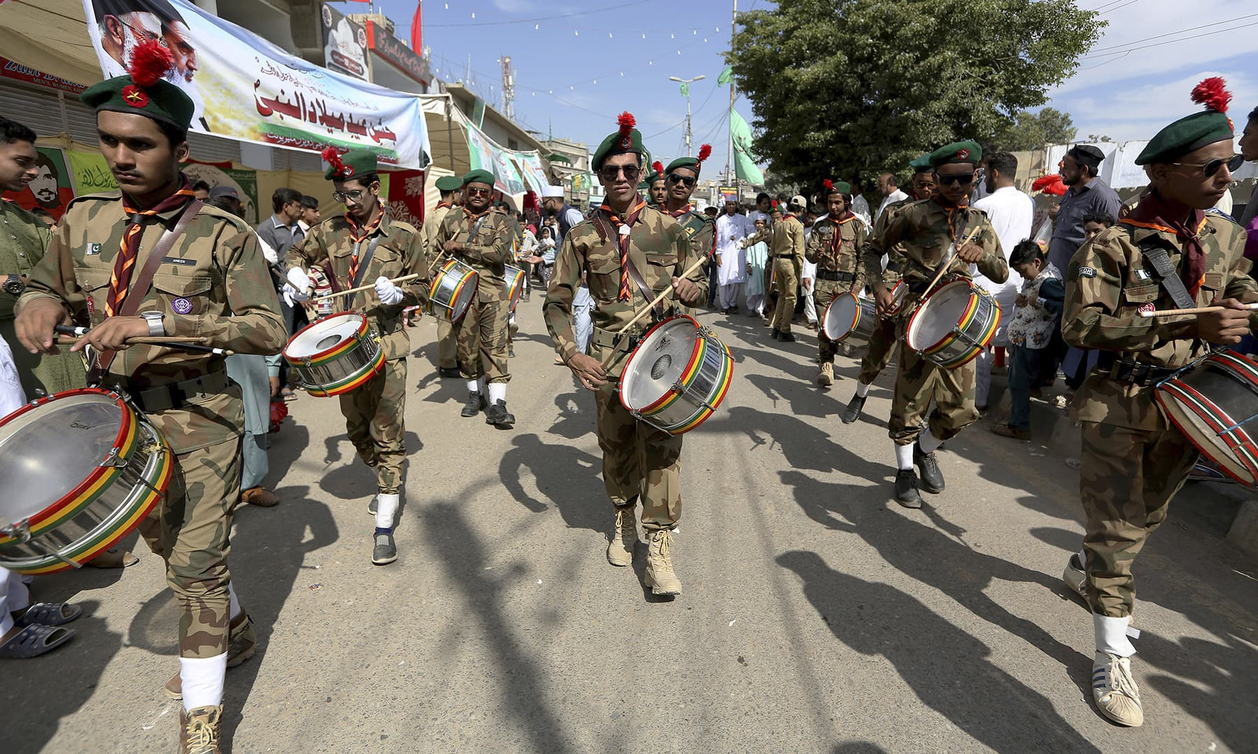 A youth band perform during a rally to celebrate the birth of the Holy Prophet (PBUH), in Karachi, on Sunday. — AP