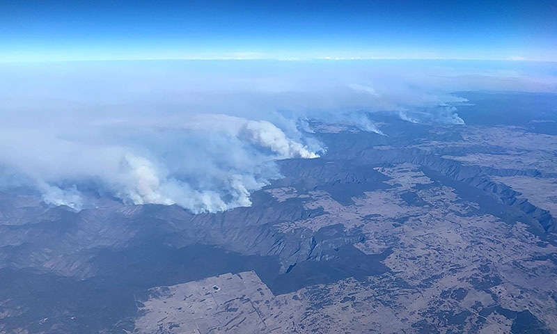 This photo taken on November 9 shows bushfires taken from a plane in over north eastern New South Wales. — AFP