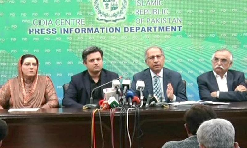 Adviser to the Prime Minister on Finance Hafeez Shaikh addressing a press conference in Islamabad on Monday, November 11, 2019.— DawnNewsTV