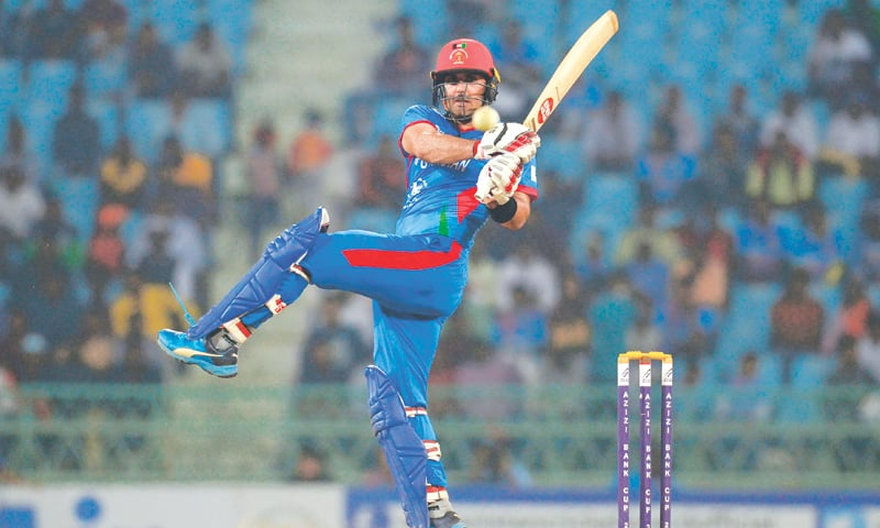 LUCKNOW: Afghanistan batsman Mohammad Nabi pulls during the third ODI against the West Indies at the Ekana Cricket Stadium on Monday.—AFP