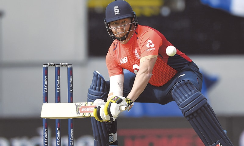 ENGLAND opener Jonny Bairstow prepares to play a cheeky shot during the fifth Twenty20 International against New Zealand at Eden Park.—AP