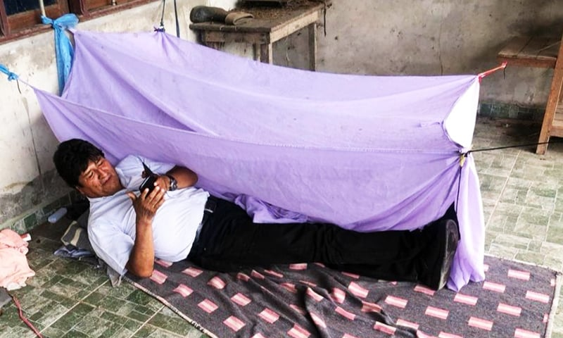 This handout photo obtained on November 11, 2019 from the twitter account of Bolivian ex-President Evo Morales of him showing how he spent his first night at an undisclosed placed after resigning. — AFP