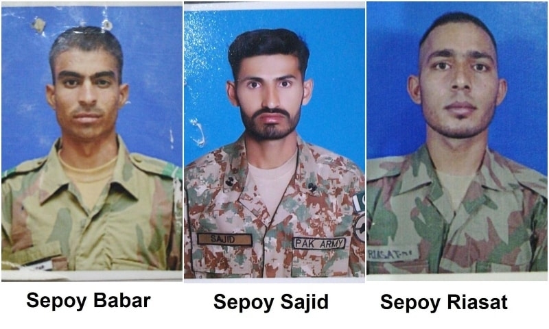 The martyred soldiers. — Photo courtesy: ISPR