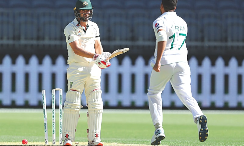 PERTH: Australia 'A' opener Joe Burns in cleaned up by Pakistan paceman Imran Khan during the tour match at the Perth Stadium on Tuesday. —Courtesy AAP