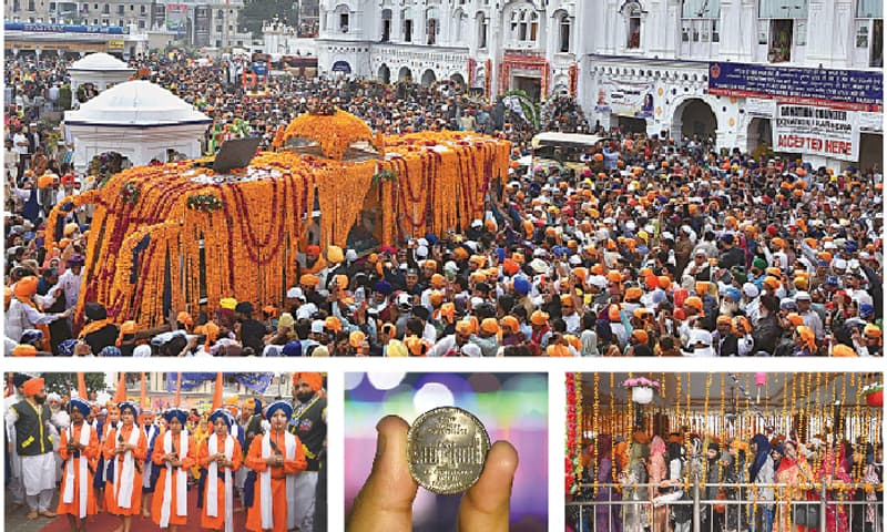 (Clockwise) Thousands of Sikhs take part in events marking the 550th birth anniversary of Baba Guru Nanak in Nankana Sahib on Tuesday; women and girls line up to take part in the rites; a pilgrim shows the commemorative coin issued on the occasion; and Sikh boys participate in a ritual.—APP / White Star