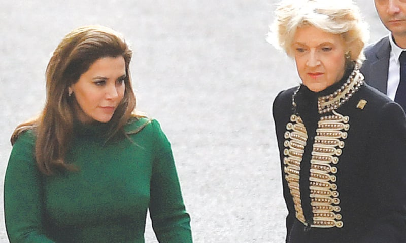 London: Princess Haya bint Al Hussein  and her lawyer Baroness Fiona Shackleton (right) at the Royal Courts of Justice on Tuesday.—AP