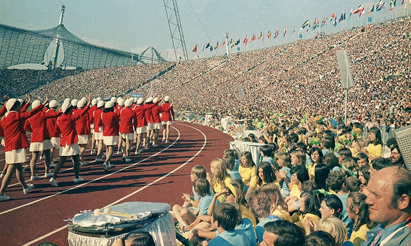 This August 26, 1972 photo shows the opening ceremonies of the 1972 Summer Olympics at the Olympic Stadium in Munich, Germany. — AP