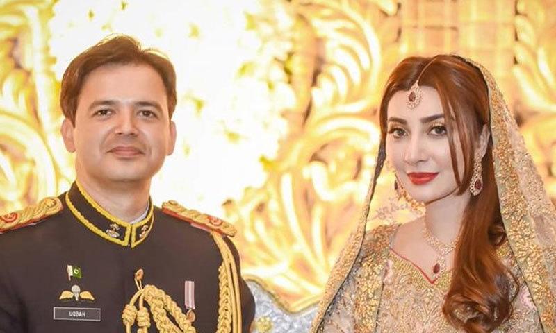 عائشہ خان نے گزشتہ برس اپریل میں پاک فوج کے افسر سے شادی کی تھی—فوٹو: ماہا فوٹوگرافی/ انسٹاگرام