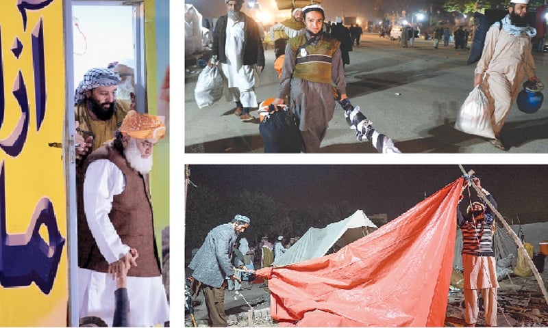 ISLAMABAD: (from left) Jamiat Ulema-i-Islam chief Maulana Fazlur Rehman leaves the stage after calling off the sit-in on Wednesday. JUI-F supporters (top-right) start leaving the sit-in venue. Workers remove a tent after the announcement.—White Star / AFP