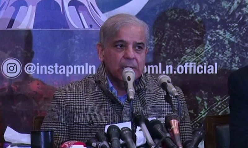 PML-N president Shehbaz Sharif addresses a press conference in Lahore. — DawnNewsTV