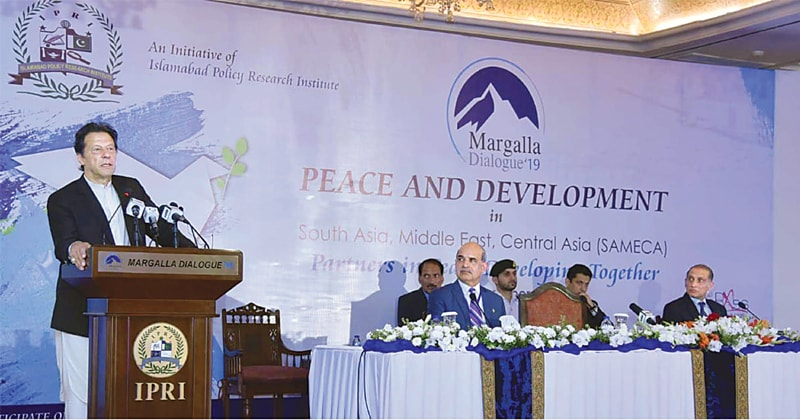 Prime Minister Imran Khan addressing the International Conference on Margalla Dialogue on Thursday.—PPI