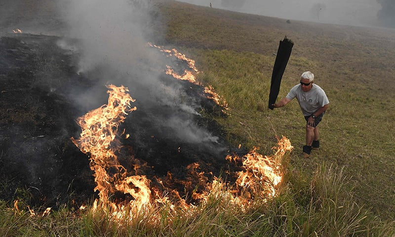 A man uses a wet towel to help put out flames as they encroach on farmland near the town of Taree, some 350kms north of Sydney, on November 14. — AFP