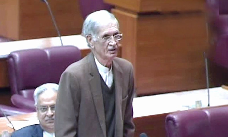 Defence Minister Pervez Khattak speaks on the National Assembly floor. — DawnNewsTV