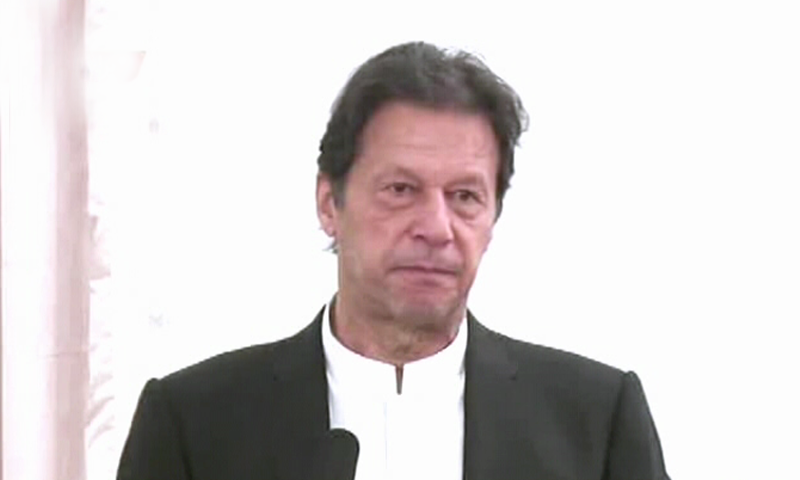 Prime Minister Imran Khan addresses the signing ceremony of  Super-6 310-MW Wind Power Projects in Islamabad on Friday. — DawnNewsTV