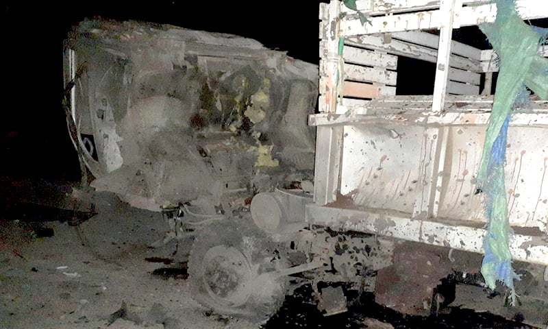 A view of the vehicle damaged in the IED blast in Quetta. — DawnNewsTV
